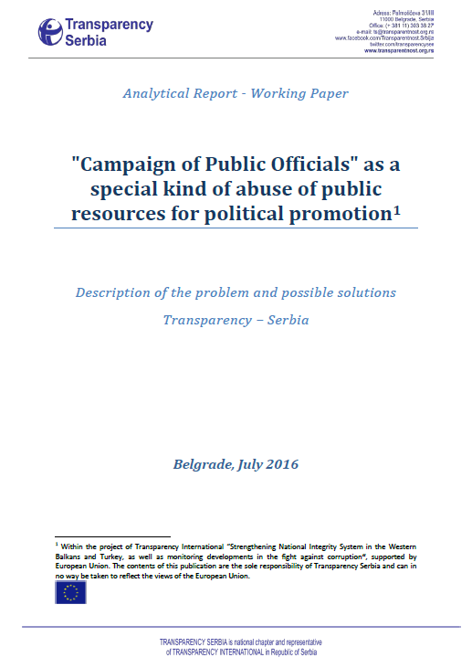 Campaign of Public Officials as a special kind of abuse of public resources for political promotion